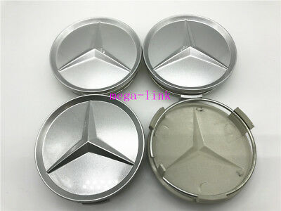 4 PCS 75mm Wheel Center Hub Caps Cover Badge Emblem For Mercedes Benz Silver New