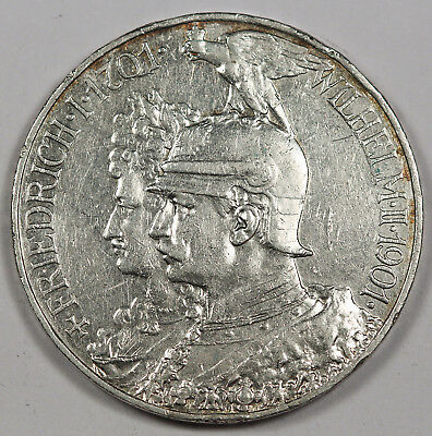 1901 A GERMANY BiCentennial of Prussia Five 5 Mark Silver Coin XF German States