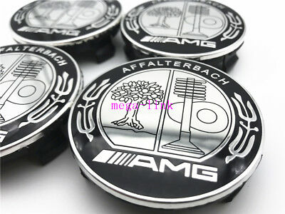 Wheel Center Hub Caps Badge Emblem For Mercedes Benz AFFALTERBACH AMG Black 75MM