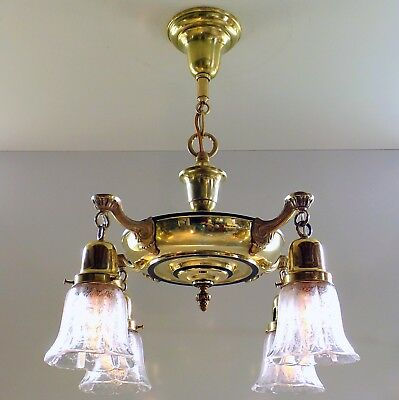Antique French Empire Pan Style Brass Hanging Ceiling Light Fixture Glass Shades