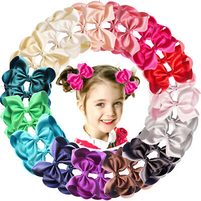 "30 Pieces Baby Girls Hair Bows Alligator Clips Grosgrain Ribbon 4.5"" Bows Clips"