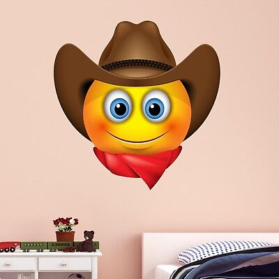 Emoji Cowboy Smiley Face Character Wall Art Stickers Mural Decal Kids Room BN8