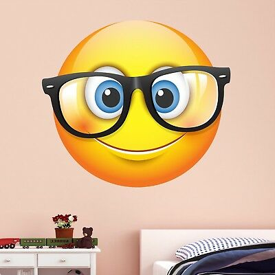 Emoji Glasses Smiley Face Character Wall Art Stickers Mural Decal Kids Room BN12