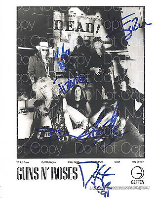 Guns N Roses signed Axl Slash Izzy Duff 8X10 photo picture poster autograph RP