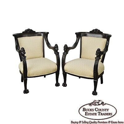 Karpen Pair of Victorian Rococo Revival Mahogany Carved Arm Chairs
