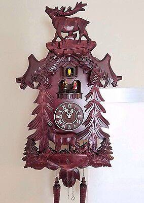 German Black Forest Handcrafted Cuckoo Clock-Deer with Dancing Stage 6005M