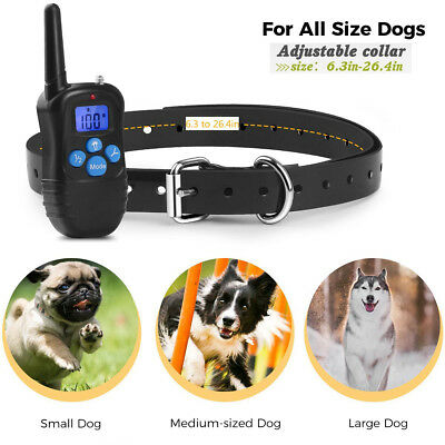 300m LCD Waterproof Rechargeable Dog Pet Trainer Training Shock Collar w/ Remote