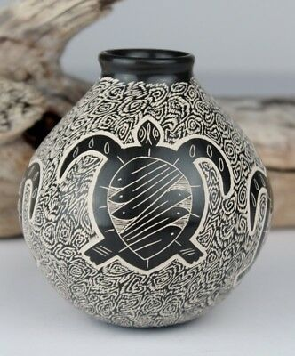 Mata Ortiz Pottery Octavio Silveira Sgraffito Sea Turtle Mexico Clay Folk Art