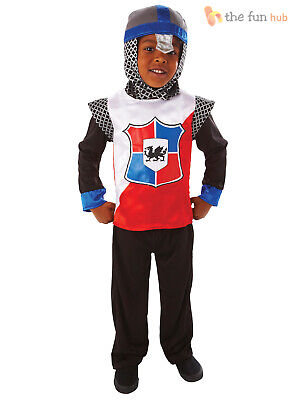 Boys Medieval Knight Costume Kids Childrens Fancy Dress St George Age 3- 8 Years