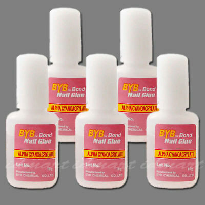 Pro 5 Bottles 10g BYB Acrylic Nail Art Glue Glitter Powder With Brush