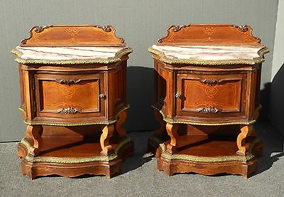 PAIR Antique French/Italian Ornate Carved White Marble Top NIGHTSTANDS w Cabinet
