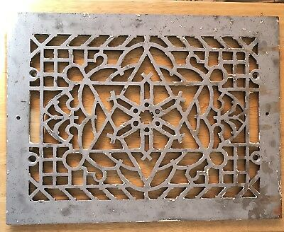 Antique Cast Iron Heat Grate Floor Vent Register Vintage Victorian Old 16x12""