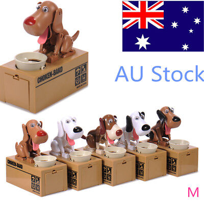 Funny Hungry Eating Dog/Cat Coin Bank Money Saving Boxes Piggy Bank Gift AU