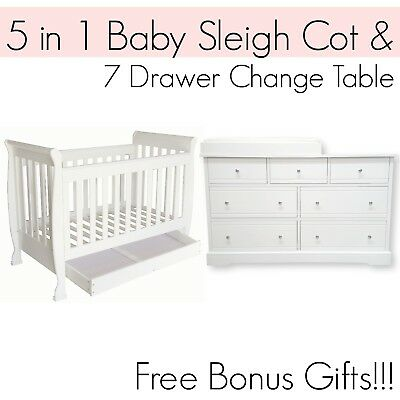 5 in 1 Dropside Baby Sleigh Cot and 7 DRAWER WHITE Change Table Package