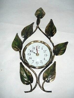 Wall clock quartz wrought iron LEAVES