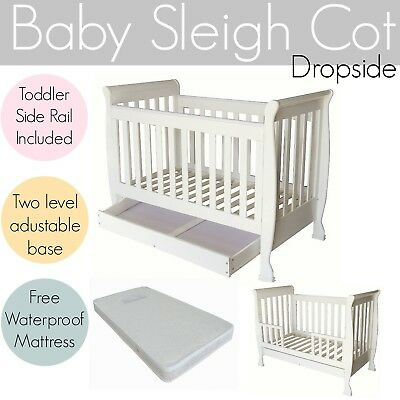NEW 5 in 1 White Dropside Baby Cot Toddler Wooden Sleigh Cot Crib Bed Mattress