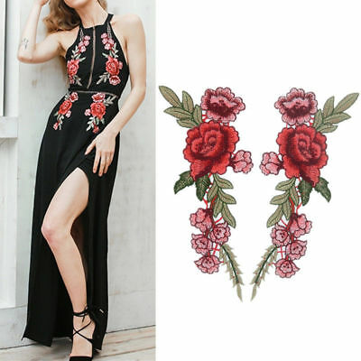 2×Rose Flower Embroidered Sew On / Iron On Patches Set Badge Bag Fabric Applique