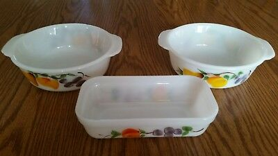 Vtg Fire King Anchor Hocking Gay Fad Painted Fruit 1 1/2 qt casseroles & 8×4...