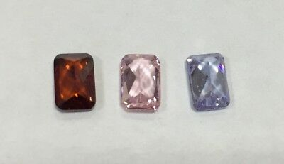 Cubic Zirconia Loose Stone RADIANT shape crystal gem PREMIUM x5 6x4mm 3 colours