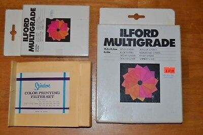 """ILFORD Multigrade Set of 12 6"""" x 6"""" and 3½"""" x 3½"""" & Spiratone 31/2"""" Filters USED"""