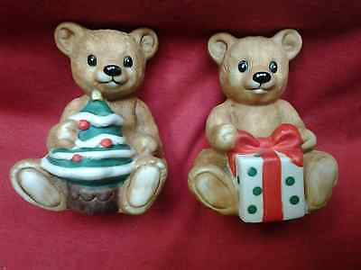 Homco Christmas Bears  One with Package and One with Tree #5505 set of 2