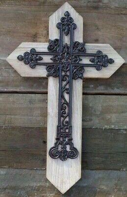 Large Ornate Wood & Cast Iron Cross Crucifix Wall Decoration Church Religion