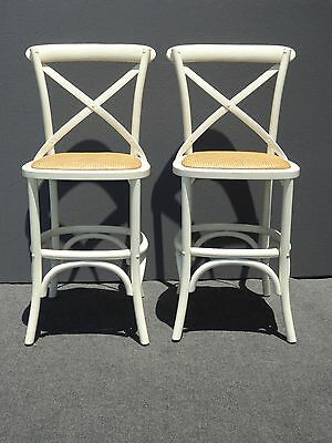 Pair Two Vintage French Country Style White Rye Seats BARSTOOLS Barstools