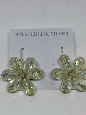 Vintage Genuine Etched Yellow Crystal Drop 925 Sterling Silver Earrings