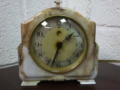 1950's MARBLE EFFECT SMITH & ENFIELD ELECTRIC ALARM CLOCK.