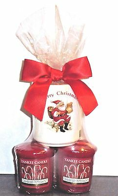 Yankee Candle CRANBERRY PEPPERMINT Candles & Holiday Votive Holder ~ FREE SHIP
