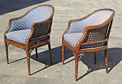 Pair Vintage Mid Century Bamboo Style Cane CLUB CHAIRS Blue Floral Design Fabric