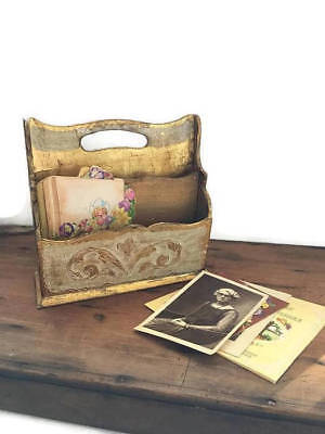 Florentine Caddy, letter holder , Gold Tole Box, Italian Vintage Decor