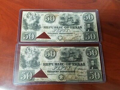 TWO Republic of Texas $50 bills dated 1840. Consecutive numbers 775 & 776 RARE!