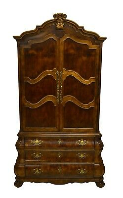 Henredon Fruitwood Bombe French Style Armoire Chest of Drawers Linen Press