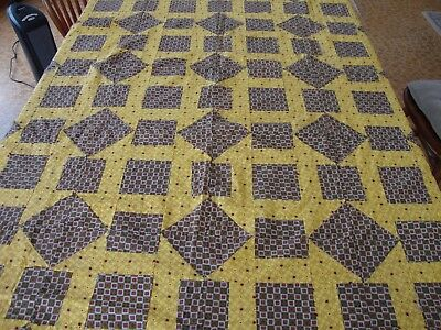 Vintage Patchwork Quilt Top Tablecloth Throw Topper Blanket Yellow Red Green