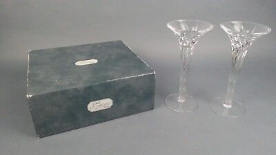 Pair J G Durand France Crystal Candlestick Candleholders w/ Box Candle Holder