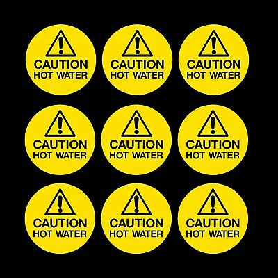 9x Caution Hot Water Stickers Vinyl Self Adhesive Stickers Decals 70mm Label