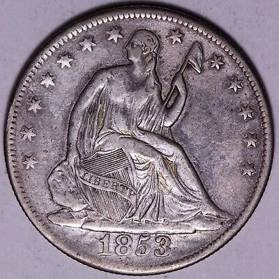 VF/XF Details 1853 Seated Liberty Half Dollar - Altered Surface           R6RTL