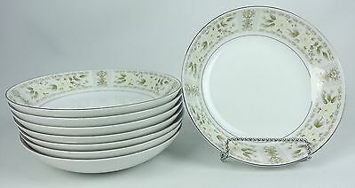 8 M Fine China Japan Ardmore 5032 Pattern Soup Cereal Bowls White Green Flowers