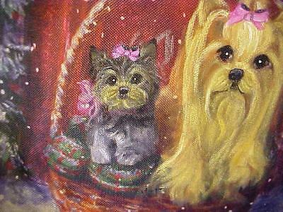 Yorkie And Puppy Handpainted Christmas Pillow