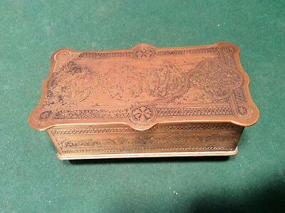 Antique Inscribed Brass Islamic Persian Middle Eastern Cigarette Or Trinket Box