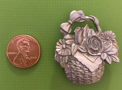 Longaberger Pewter Magnet Rose Basket