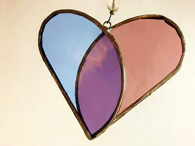 Handmade Stained Glass Suncatcher Heart by LA Glass Made in USA