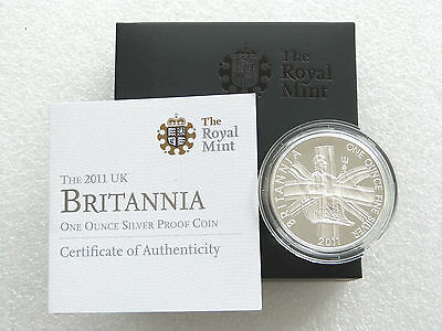 2011 Great Britain Britannia £2 Two Pound Silver Proof 1oz Coin Box Coa