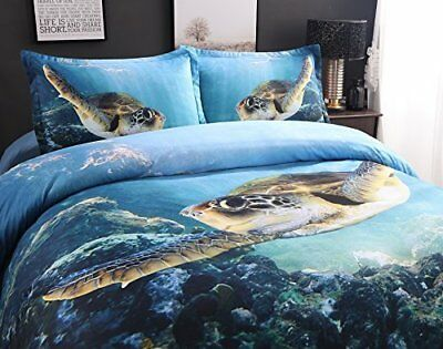 UniTendo Swimming Sea Turtle Digital Bedding Set High Definition Ocean Blue Sets