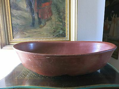 Antique Extra Large Huge Mexican Red Clay Red Ware Utilitarian Serving Bean Bowl