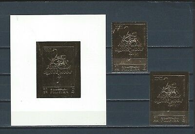 Middle East UAE Trucial States stamps & sheet  GOLD first man on moon - SPACE