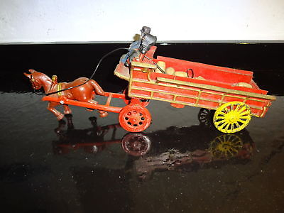 Vintage Cast Iron Toy Horse and Wagon