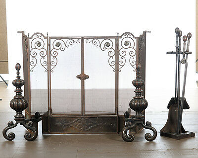 Antique Ornate Spanish Cast Iron Fire Place Screen Set