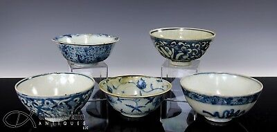 Great Lot Of Antique Chinese Blue And White Porcelain Bowls - Ming Dynasty